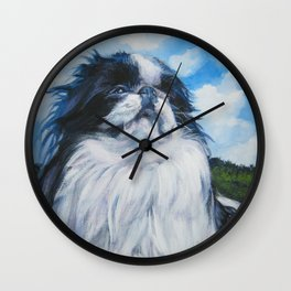 Japanese Chin dog art from an original painting by L.A.Shepard Wall Clock