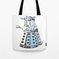 dalek Tote Bags featuring Dalek Graffiti by spacemonkey89