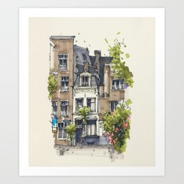 Residential house along Amsterdam canals Art Print
