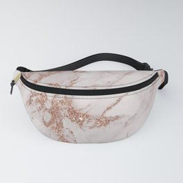 Abstract blush gray rose gold glitter marble Fanny Pack
