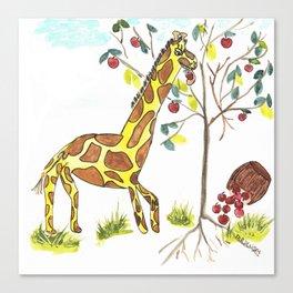 Giraffe Under the Apple Tree Canvas Print