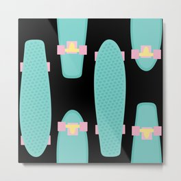 Pastel Skateboards Pattern - Pastel on Black Metal Print