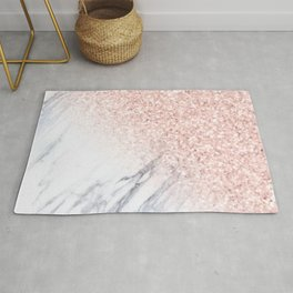 Rose Gold Sparkles White Gray Marble Luxury II Rug