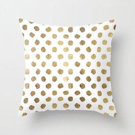 Luxurious faux gold leaf polka dots brushstrokes Throw Pillow