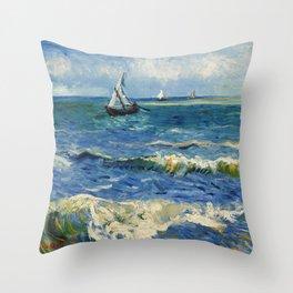 Seascape near Les Saintes-Maries-de-la-Mer by Vincent van Gogh Throw Pillow