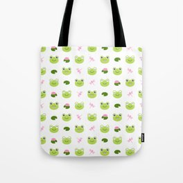 Frogs, Dragonflies and Lilypads on White Tote Bag