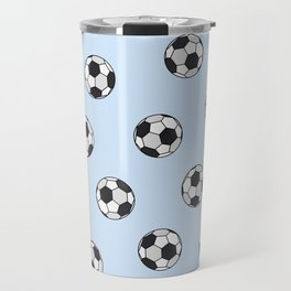 Abstract Black And White Pale Blue Soccer Ball Pattern Travel Mug