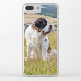 St Bernard with a view Clear iPhone Case