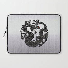 Black Oriental Dragon on Silver Laptop Sleeve
