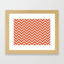 red, white zig zag pattern design Framed Art Print