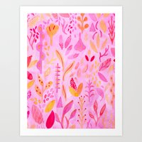 flora Art Prints featuring Flora by messy bed studio