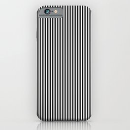 Midnight Black and White Vertical Sailor Stripes iPhone Case