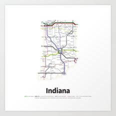 Highways of the USA – Indiana Art Print