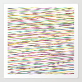 Colorful Abstract strips grid Art Print