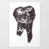 tooth Art Prints featuring Tooth. by Tiffany Huta