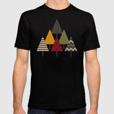 forest geo trees light MEDIUM Black Mens Fitted Tee