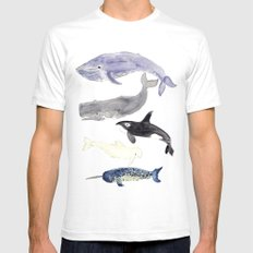 WHALES White Mens Fitted Tee SMALL