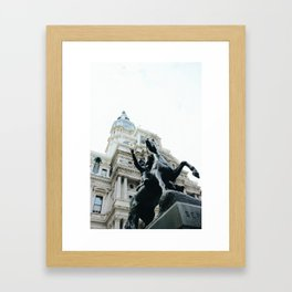 Philadelphia City Hall with Horse Statue Framed Art Print