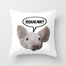 Squeak mouse Throw Pillow