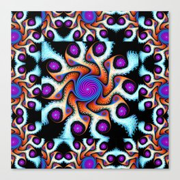 Tiled Swirly fractal pattern in purple, blue, orange and cream Canvas Print