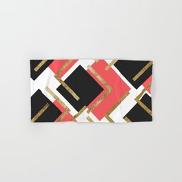 Chic Coral Pink Black and Gold Square Geometric Hand & Bath Towel