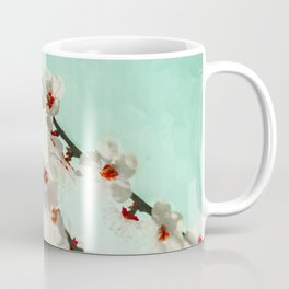 White cheery blossom blooms under turquoise sky. Coffee Mug