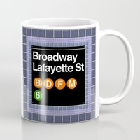 broadway Mugs featuring subway broadway sign by Art Lahr