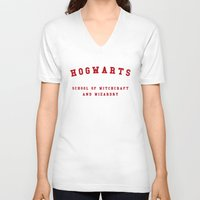 hogwarts V-neck T-shirts featuring Hogwarts by Fabian Bross