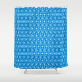 Blue Japanese Hemp Kimono Pattern Shower Curtain
