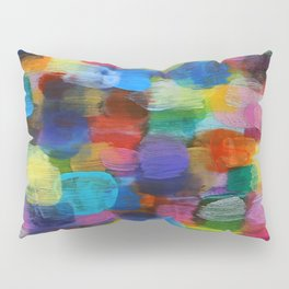 Colorful Abstract Art Brushstrokes in Yellow, Blue, Turquoise Pillow Sham