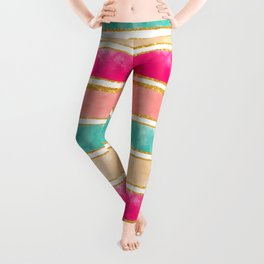 Modern Stripes Pink Red Watercolor Gold Glitter Leggings