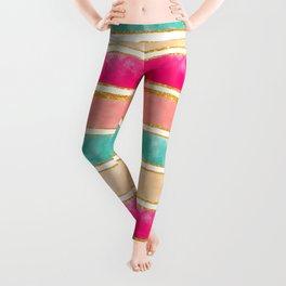 Modern Stripes Pink Red Watercolor Gold Glitter Leggings