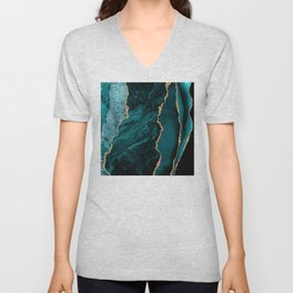 Crushed Green Velvet, Teal And Aqua Marble Unisex V-Neck