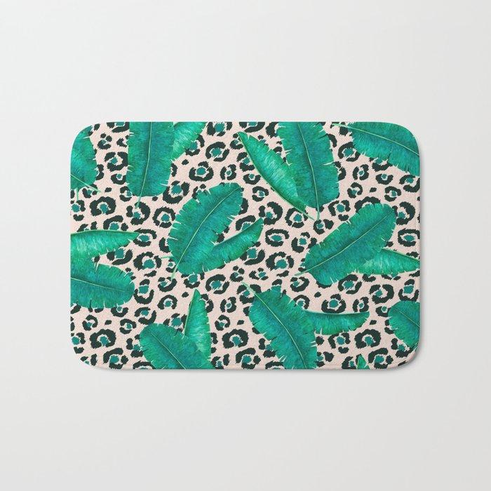 Trendy Tropical Banana Leaf Leopard Print Bath Mat