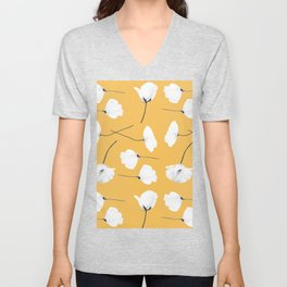 Poppies on mustard Unisex V-Neck