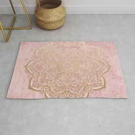 MOON DANCE MANDALA IN GOLD AND PINK Rug