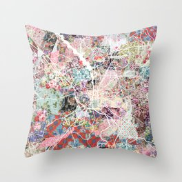 Columbus map Georgia Throw Pillow