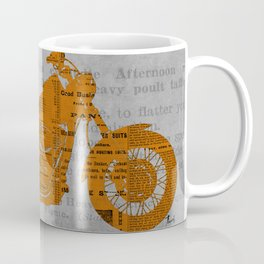 Triumph motorcycle newspaper collage, cut paper, original abstract art for men gift Coffee Mug