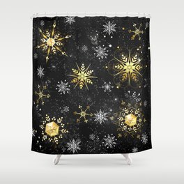 Golden snowflakes on black background Shower Curtain
