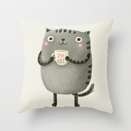 I♥kill (brown) Throw Pillow