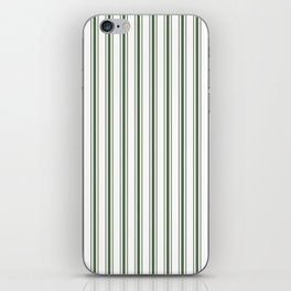 Large Dark Forest Green and White Mattress Ticking Stripes iPhone Skin