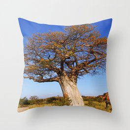 Baobab in the autumn, Africa wildlife Throw Pillow