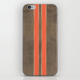 Vintage Hipster Retro Design - Brown Leather with Gold and Orange Stripes iPhone Skin