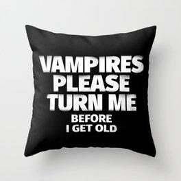 Vampires Please Turn Me Throw Pillow