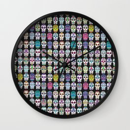 Sugar Skulls All Over Pattern Black Background Wall Clock
