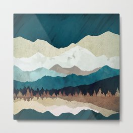 Fall Forest Night Metal Print