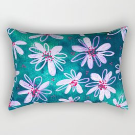 Daisy Flowers | Whimsical Watercolor Daisies on Cyan BlueTeal Rectangular Pillow