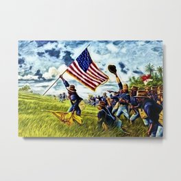 African American 9th Cavalry Buffalo Soldiers 1898 in Cuba, San Juan Hill landscape painting Metal Print