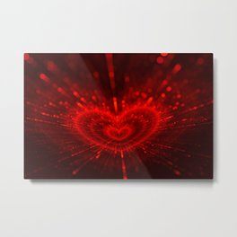 Cupid's Arrows | Valentines Day | Love Red Black Heart Texture Pattern Metal Print