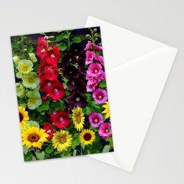 ENGLISH HOLLYHOCKS & SUNFLOWER GARDEN Stationery Cards